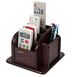 Sixsop Wood Remote Control / Controller TV Guide / Mail / CD organizer / Caddy / Holder (Red Wood)