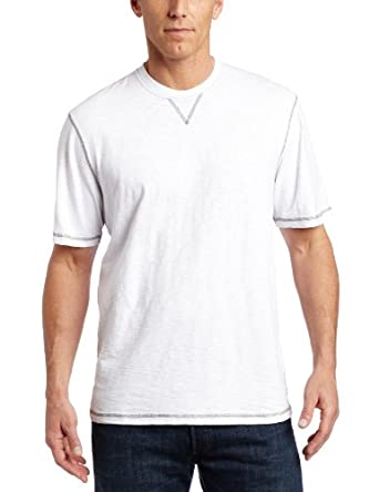 True Grit Men's Short Sleeve Crew Neck Slub Jersey, White, Large