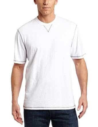 True Grit Men's Short Sleeve Crew Neck Slub Jersey, White, Large