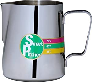 SMART PITCHER Espresso Coffee Milk Frothing Pitcher With Built-In Thermometer, Stainless Steel from SMART PITCHER