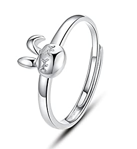 Infinite U 925 Sterling Silver Cute Rabbit Adjustable Ring for Women/Teenagers/Girls Size J to O