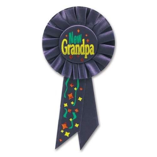 Beistle RS179 New Grandpa Rosette, 31/4 by 61/2-Inch