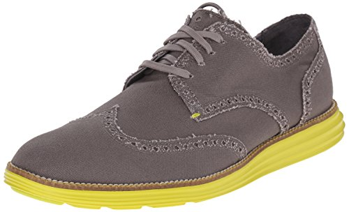 Cole Haan Men's Original Grand Wtip Oxford, Grey Canvas/Yellow, 12 M US (Cole Haan Mens Grey Shoes compare prices)
