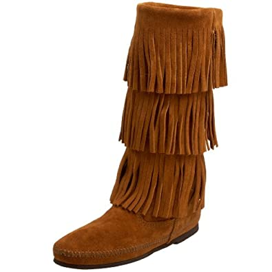 Minnetonka Women's 3-Layer Fringe Boot,Brown,5 M US