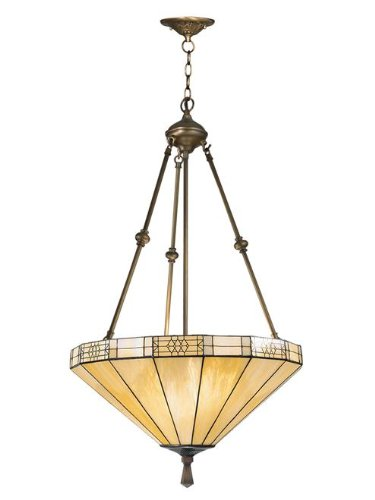 Dale Tiffany 8642/3LTJ Umbrella Filigree Pendant Light, Antique Bronze and Art Glass Shade