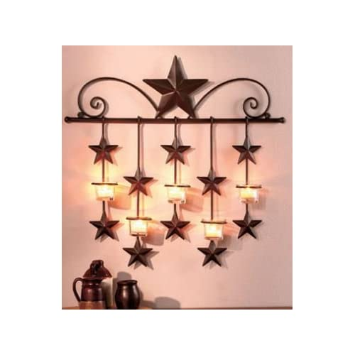 Rustic Barn Star Tea Candle Wall Sconce