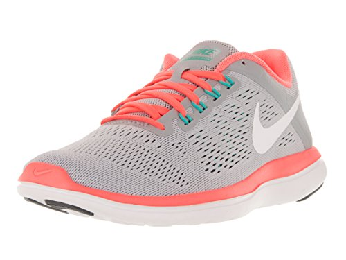 Women's Nike Flex 2016 RN Running Shoe Wolf Grey/Dark Grey/Bright Mango/White Size 8 M US