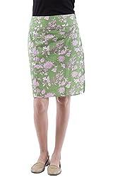 AARR green floral printed knee length skirt