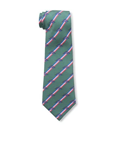 Hermès Men's Pre-Owned Striped Silk Tie, Green