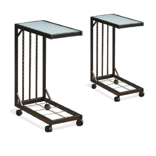 Two Tv Dinner Snack Tea Tray Tables End Side Sofa Storage Glass Caddy Set