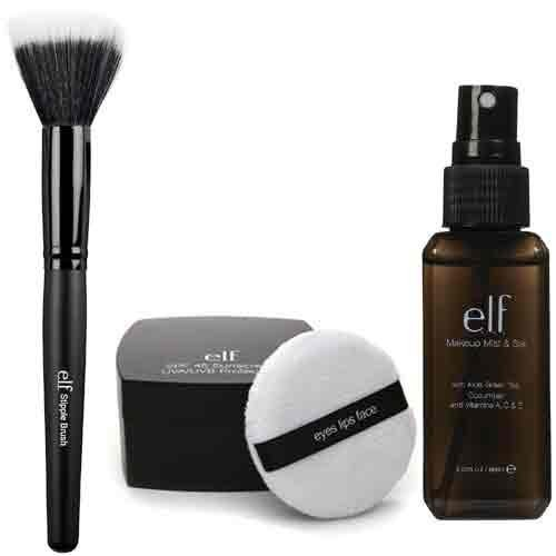 E.L.F. Studio Spf 45 Sunscreen Uva/Uvb Protection Loose Powder With Makeup Mist And Set, Clear, 2.02 Ounce And Stipple Brush