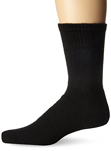 Thorlo Unisex Moderate Cushion Walking Crew Sock, Black, Large(shoe size-Women's 10.5-13 Men's 9-12.5)