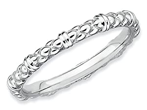 Stackable Expressions Sterling Silver Rhodium Cable Stackable Ring Size 10