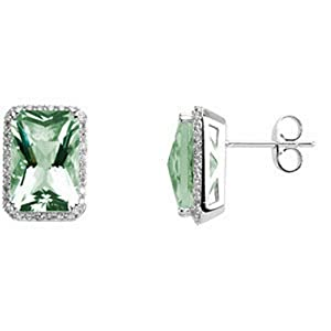 IceCarats Designer Jewelry Genuine Green Quartz And Diamond Earrings 14K White Gold