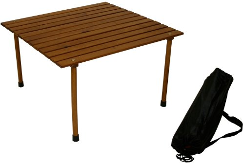 Table in a Bag W2817 Large Wood Portable Table With Carrying Bag, Brown