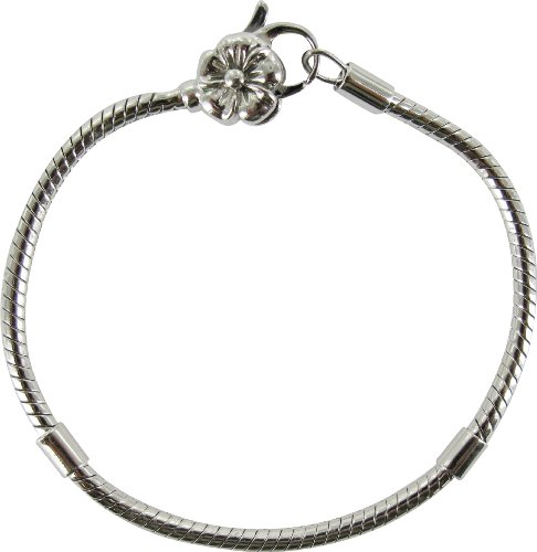92.5 Silver 20cm Rhosium Plate Chrysalis Bracelet with Flower Clasp