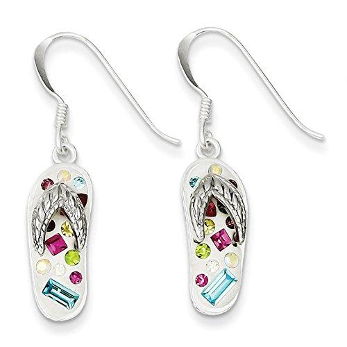 Sterling Silver Stellux Crystal Multi-Color/White Flip Flop Earrings