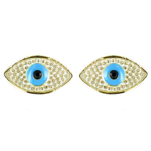 White And Blue On Gold Plated Small Evil Eye Earrings front-862104