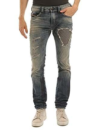DIESEL Men's Thavar Slim Fit Vintage Ripped Jeans 28|32 Blue