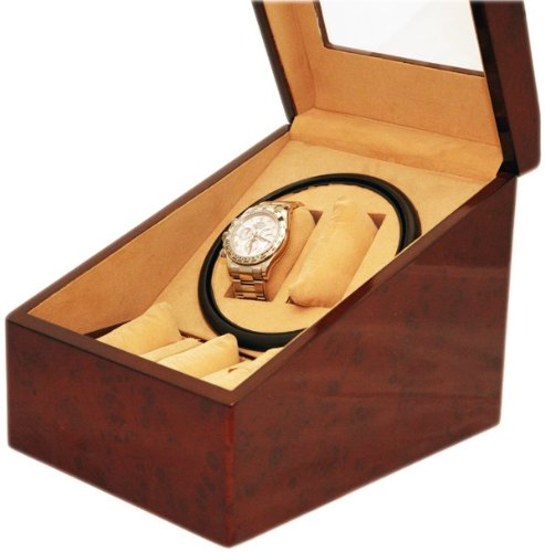 Burl Wood 2+3 Automatic Double / Dual Watch Winder Display Storage Box Battery Or Ac/Dc