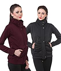 PURYS Black & Wine Fleece Buttoned Sweatshirts Combo of 2