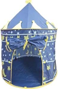 Puregadgets© Wizard Sorcerer Castle Pop Up Children's Tent with Windows and Roll Up Door Blue Boys Indoor or Outdoor