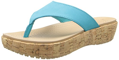 Crocs Womens Women'S A-Leigh Flip Flop,Turquoise/Gold,7 M Us front-1078810