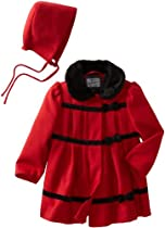 Rothschild Baby-Girls Infant Dress Coat With Bows, Red, 12 Months