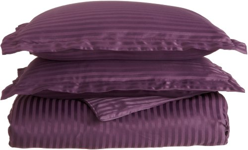 Impressions 1500 Series Wrinkle Resistant Full/Queen Duvet Cover 3-Piece Set Stripe, Plum front-1035506