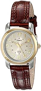 Timex Women's T2N436 Elevated Classics Two-Tone Watch with Brown Leather Strap