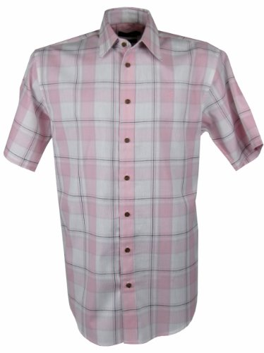 Mens Farah Casual Check Shirt Pink Short Sleeves