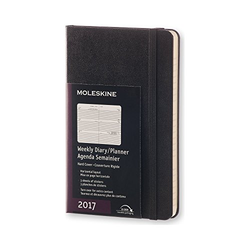 Moleskine 2017 Weekly Planner, Horizontal, 12M, Pocket, Black, Hard Cover (3.5 x 5.5)