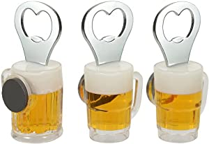 Beer Glass Fridge Magnet Bottle Opener. Set of 3, by Lily's Home by Lily's Home