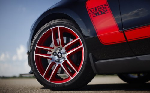 "Ford Mustang Boss 302 (2012) Car Art Poster Print On 10 Mil Archival Satin Paper Black Front Wheel Well Closeup View 20""X15"""