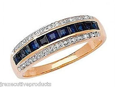 J R Jewellery 407336 9ct Gold Sapphire Squares & Diamond Eternity Ring