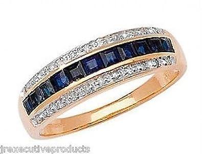J R Jewellery 407336 9ct Gold Sapphire Squares & Diamond Eternity Ring