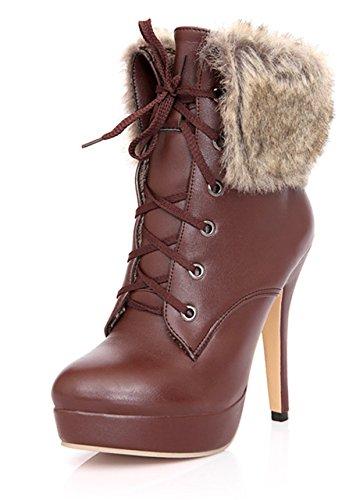 YE Plateau High Heel Stiletto Schnürstiefeletten mit Fell Elegant Fashion 12 cm Absatz Warm Gefütterte Herbst Winter Damenstiefel