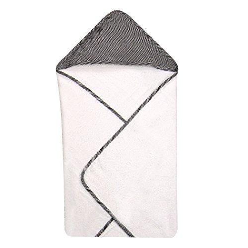Trend Lab Gingham Seersucker Hooded Towel, Black - 1
