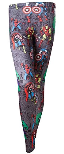 Marvel Super Heroes Leggings taglia M All Over Print Leggings pantaloni Captain Camerica Hulk Iron Man Avengers