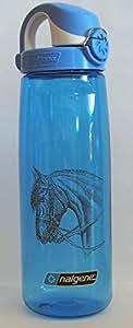 Nalgene 'Everyday OTF' - 0,7 L, blau mit Pferdemotiv, Deckel blau-weiss