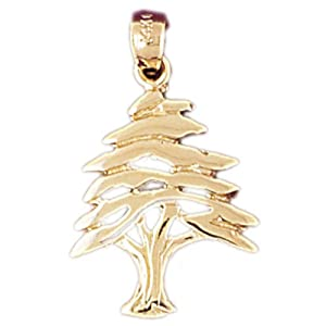 14K Yellow Gold Cedar Tree Pendant