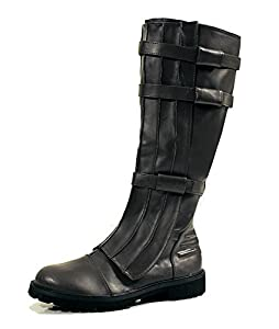 Black Knee High Strapped Steampunk Renaissance Star Wars Star Trek Mens Boots Mens Size Large 12 & 13