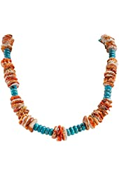 Orange Spiny Oyster Shell, Turquoise, Native American Santo Domingo Kewa Pueblo Necklace, 25 Inches