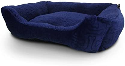 American Kennel Club 32x20x8-Inch Embossed Solid Pet Cuddler Bed, Blue
