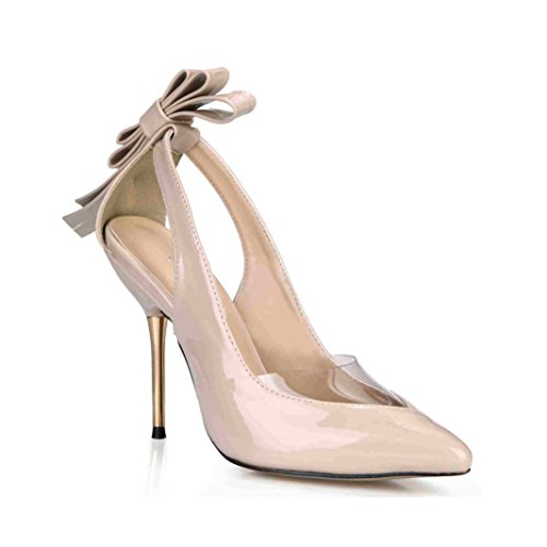 Dress Stilettos Pointed Toe Pumps High Heel Pointy Sandals LADY NUDE Bowtie Prom Wedding Party Club Carpet Wedding DolphinGirl Shoes SM00049