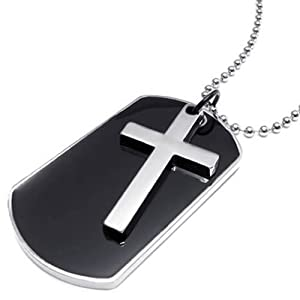 Konov Jewellery Mens Army Style Cross Dog Tag Pendant Necklace, 27 inch Chain, Colour Black Silver (with Gift Bag)