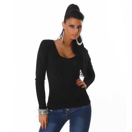 Longpulli mit V-Ausschnitt Pullover Einheitsgröße für 32,34,36,38 - verschiedene Farben