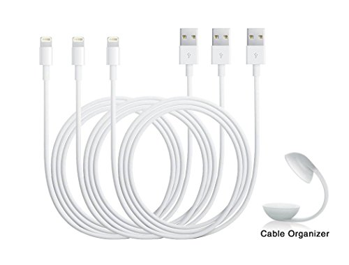 Eaglewood (TM) 3Pcs High Quality 3ft/1m 8 Pin Lightning USB Cable for iPhone 6/6 Plus, iPhone 5s/5/5c, iPod Touch 5th, Nano 7th, and iPad 4 Air Mini-Compatible with IOS 8-with Cable Organizer (White)