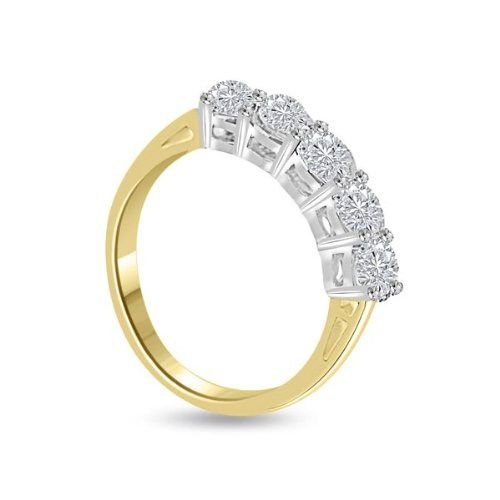 0.60 carat Diamond Half Eternity Ring for Women. H/SI1 Round Brilliant Diamonds in 4 Claw Setting in 18ct Yellow & White Gold