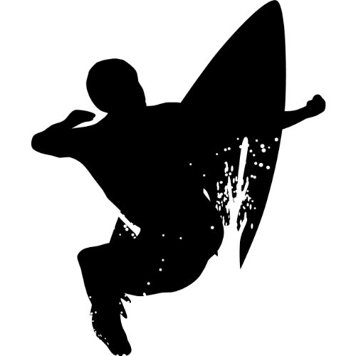 Wall Sticker Decal   24 In. Surf Silhouette Decoration (Glossy Black Vinyl)